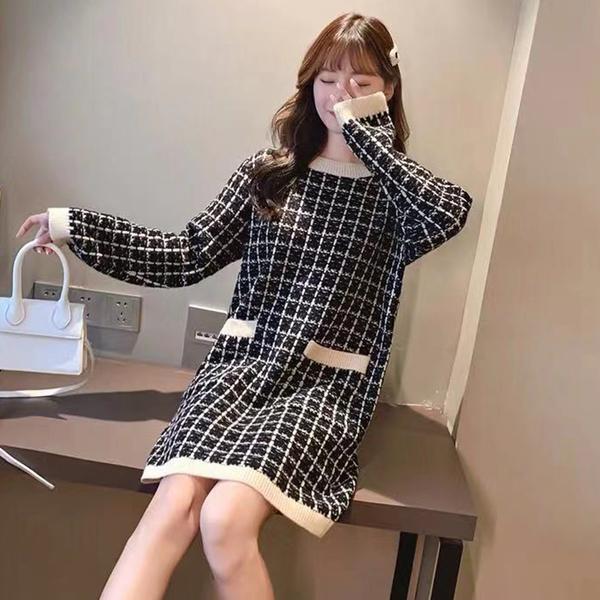 *ORead*韓版小香風中長款毛衣連身裙(4色F碼)