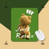 放輕松小熊綠色卡通可愛手工原創電腦游戲辦公桌面方形加厚滑鼠墊【愛物及屋】