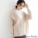 「Winter」褶線拼接設計V領針織上衣 - Green Parks