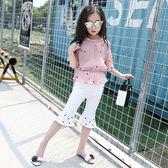 兒童裝女童夏裝套裝2018新款時尚雪紡短袖寶寶中大童夏季兩件套潮 qf757【黑色妹妹】