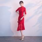 敬酒服新娘春裝結婚中式訂婚旗袍修身紅色晚禮服女中長版
