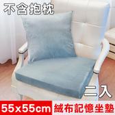 【凱蕾絲帝】高支撐記憶聚合加厚絨布坐墊/實木椅墊55x55cm灰藍二入