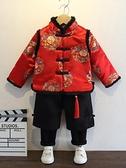 兒童過年套轉 寶寶唐裝兒童衣服過年童裝紅色喜慶冬裝套裝男童新年裝【快速出貨八折下殺】