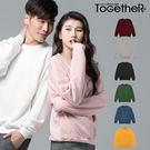 ToGetheR+【T5888】韓風簡約款寬版素面厚棉情侶長袖上衣(八色)