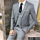 中大尺碼 西服套裝男士三件套商務正裝職業修身伴郎新郎結婚禮服xx11386【每日三C】