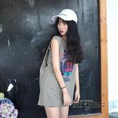 2018夏韓版ulzzang寬鬆無袖T恤女外穿背心學生bf原宿風港味上衣潮
