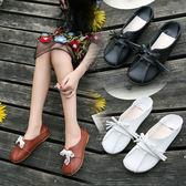 娃娃鞋女森女系圓頭小白鞋女平底學生休閒文藝女單鞋夏 XY1009 【男人與流行】