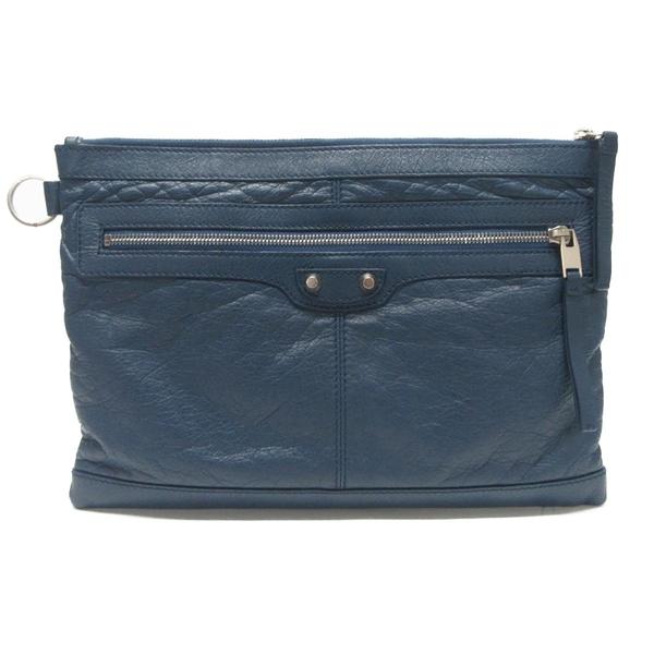 BALENCIAGA 巴黎世家 藍色山羊皮銀釦手拿包  Clutch 273022 【BRAND OFF】