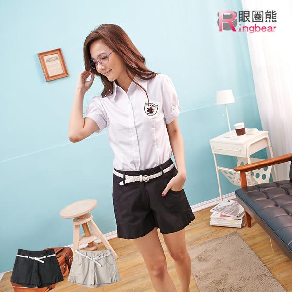 短褲--唯美輕熟側邊壓摺寬版下擺設計短褲附腰帶(黑.卡其M-6L)-R134眼圈熊中大尺碼◎