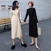針織洋裝 打底針織洋裝女秋冬2019新款韓版氣質顯瘦寬鬆中長款過膝毛衣裙