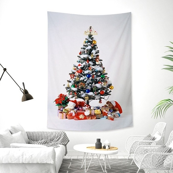 Ins北歐風小清新掛毯掛布 聖誕樹 聖誕節佈置 耶誕節 背景布 沙灘巾 牆壁裝飾 掛飾【H81117】