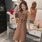 毛呢洋裝 加厚毛呢背帶裙女兩件套新款秋冬季韓版毛衣吊帶刷毛洋裝套裝裙 ZJ3847【Sweet家居】