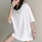 白色短袖t恤女2021年新款內搭大碼體恤寬鬆純棉半袖中長款黑上衣【快速出貨】