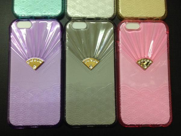 【世明國際】iphone6/6s plus 和風 日本 扇形 波浪鑽石手機套 水鑽透明殼 i6 保護套 手機殼 果凍套