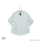 【INI】立體飄逸、質感面料剪裁寬袖上衣.綠色