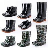 雨鞋四季中高筒雨鞋男士耐磨工作水靴短筒套鞋低幫牛筋底防滑塑膠鞋夏 聖誕節