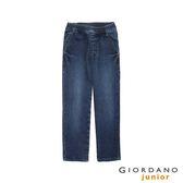 【GIORDANO】童裝鬆緊腰丹寧牛仔褲-77 中藍