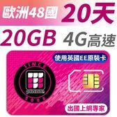 【TPHONE上網專家】歐洲全區48國20GB超大流量高速上網卡 支援4G高速 歐洲原裝卡最大流量 20天