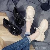 鬆糕鞋女新款英倫風厚底女鞋子單鞋厚底楔形黑色繫帶小皮鞋 扣子小鋪