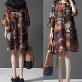 棉麻藝術風顯瘦洋裝-大尺碼 獨具衣格 J3476
