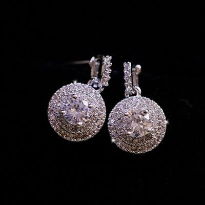 耳環 925純銀鑲鑽-奢華迷人生日情人節禮物女耳飾73du17【時尚巴黎】