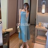 洋裝女春季2021新款百搭法式設計感小眾吊帶裙 快速出貨