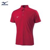 MIZUNO 男裝 短袖 POLO衫 合身版型 吸汗 快乾 素面 珊瑚紅【運動世界】32TA902562