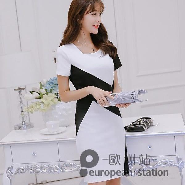 洋裝/春夏新款大碼百搭韓版短袖連身裙女時尚顯瘦拼接打底裙