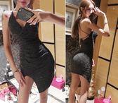 夜店女裝性感低胸大露背褶皺不規則開叉吊帶連身裙潮   小時光生活館
