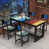 餐桌 小吃快餐店桌椅飯店食堂餐廳一桌二四椅組合 咖啡廳個性主題餐桌