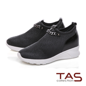 TAS金屬鍊條光澤彈力牛皮內增高休閒鞋-經典黑