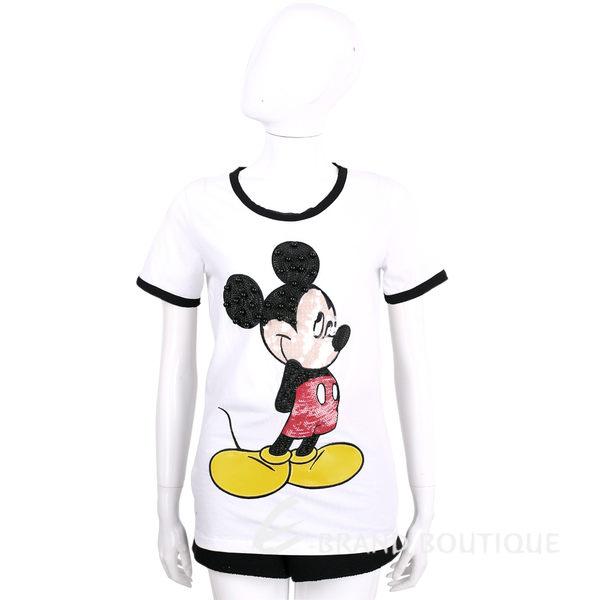 PINKO 白色米奇亮片飾棉質短袖上衣 1620309-20