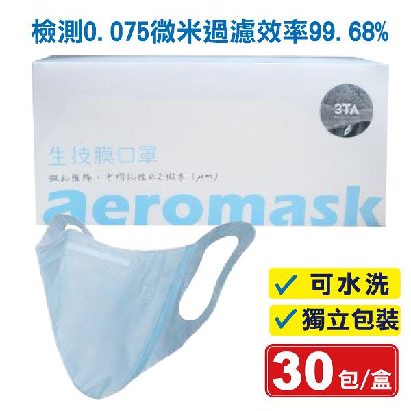 (現貨) 3TA 三達W型納米生技膜口罩(藍) 30入/盒 (可水洗 獨立包裝) 專品藥局 【2015107】