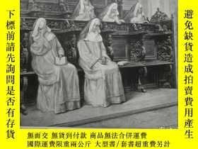二手書博民逛書店【罕見】1900年木刻版畫《修女的沉思》(Meditation)