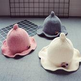 秋冬寶寶兒童毛線帽子新款8個月-3歲韓版1女童花邊盆帽2男童保暖