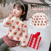 女童毛衣套頭2020  兒童水貂絨寶寶上衣加絨加厚 打底衫洋氣小山好物
