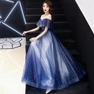 禮服洋裝 很仙的晚女氣場女王長款畢業學生...