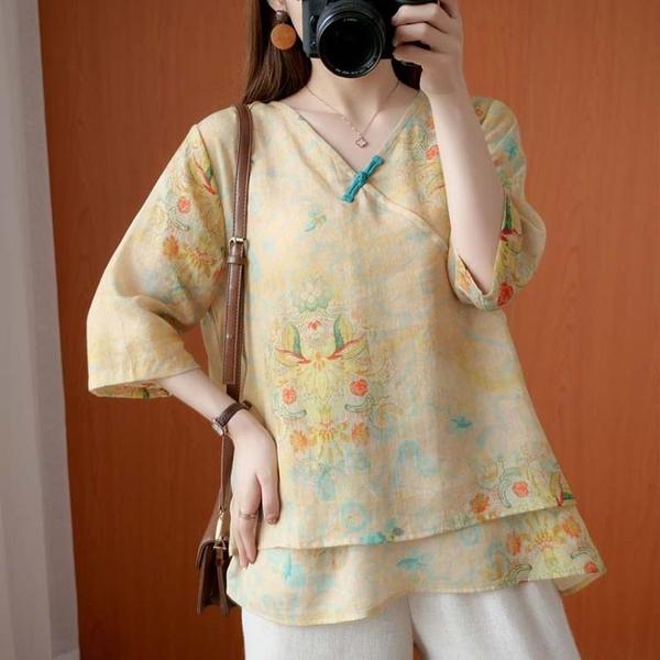 中國風復古減齡氣質襯衫女夏款寬鬆大碼薄款棉麻印花V領盤扣上衣 百分百