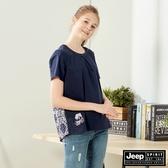 【JEEP】女裝 輕薄拼接短袖襯衫-深藍
