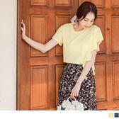 《AB12624》台灣製造.設計感荷葉造型捲邊高含棉T恤/上衣 OrangeBear