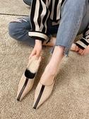 半拖鞋 無后跟懶人毛毛半拖鞋女新款韓版時尚尖頭高跟鞋貓跟外穿女鞋 雙12