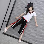 童裝2018新款12歲女童套裝夏裝韓版夏季兒童短袖中大童運動兩件套