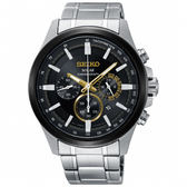 【僾瑪精品】SEIKO 精工 criteria 經典太陽能三眼計時碼錶-銀x金/V175-0ER0D(SSC679P1)