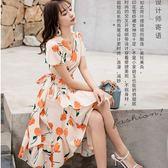 熱情夏季花朵度假風交岔魚尾裙矲波希米亞洋裝[98771-QF]美之札