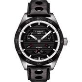 TISSOT 天梭 PRS516 系列小秒針機械手錶-黑/42mm T1004281605100
