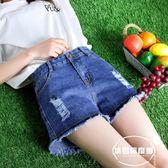 高腰牛仔短褲女夏季新款寬松破洞大碼胖mm闊腿毛邊a字熱褲子
