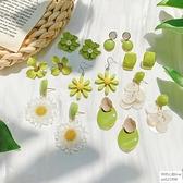 牛油果綠花朵耳釘清新可愛少女心適合夏天的冷淡風純銀針耳環耳飾 怦然心動