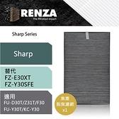 【南紡購物中心】RENZA濾網 適用Sharp夏普FZ-E30XT/FZ-Y30SFE FU-D30T FU-Z31T 集塵脫臭 二合一濾芯