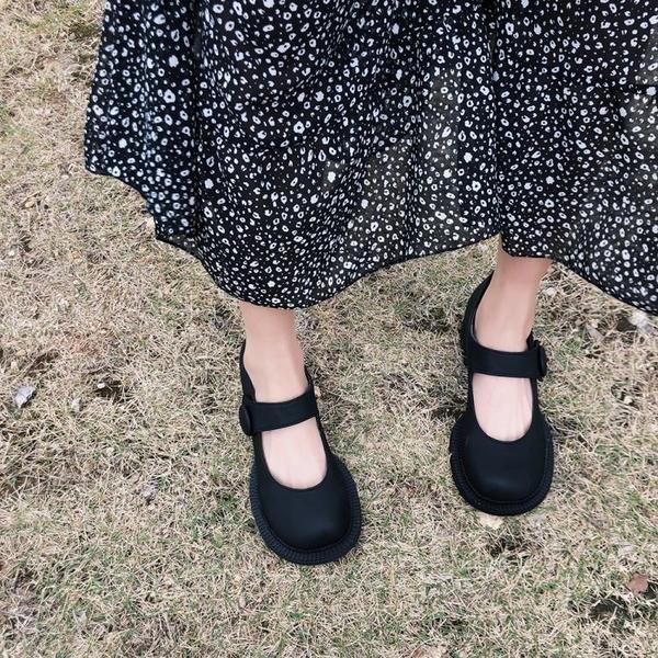 娃娃鞋 復季古粗跟厚底瑪麗珍大頭鞋女網紅學院風英倫小皮鞋娃娃單鞋 - 風尚3C