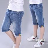 牛仔短褲兒童中褲牛仔短褲夏季中大童棉質厚款小男孩褲子男童七分褲12歲15